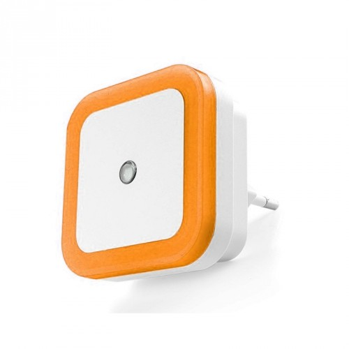 Nightlight with light sensor (220v, square, orange)