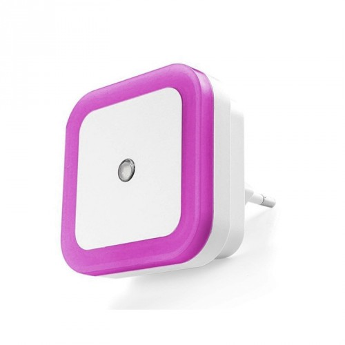 Nightlight with light sensor (220v, square, purple)