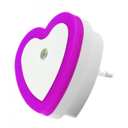 Nightlight with light sensor (220v, heart, purple)