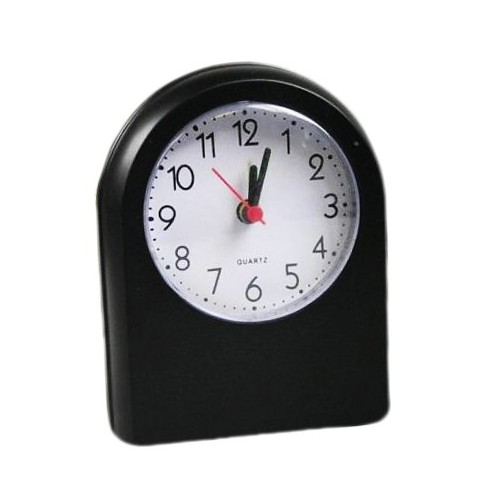 Travel alarm clock, black (battery powered)