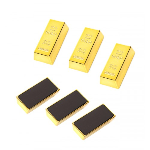 3 x gold bar fridge magnet