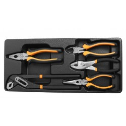 Pliers set, 5 pieces, in plastic tray