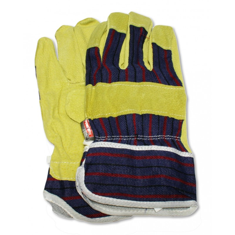Protective leather gloves for garden, garage and hobby