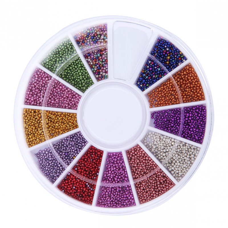 Mini gekleurde deco parels in een doosje