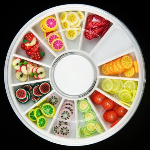Mini gekleurde deco fruitschijfjes in een doosje