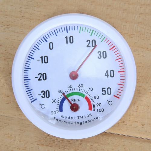 Indoor and outdoor temp. and humidity meter round