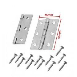 Set of 2 metal hinges, silver color (64x35mm)