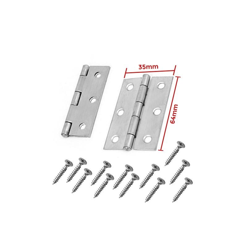Set of 2 metal hinges, silver color (35x64mm)