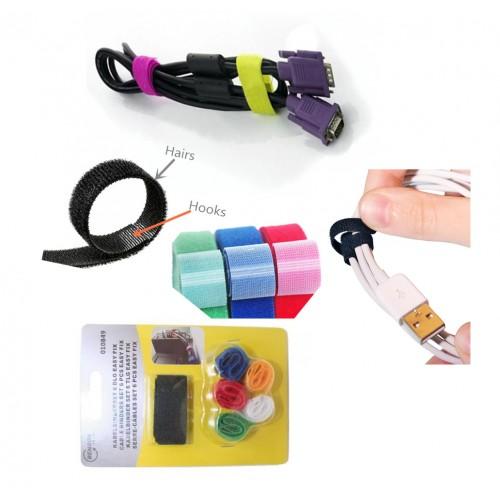 Satz Kabelbinder mit Klettverschluss (6 Stück im Paket)
