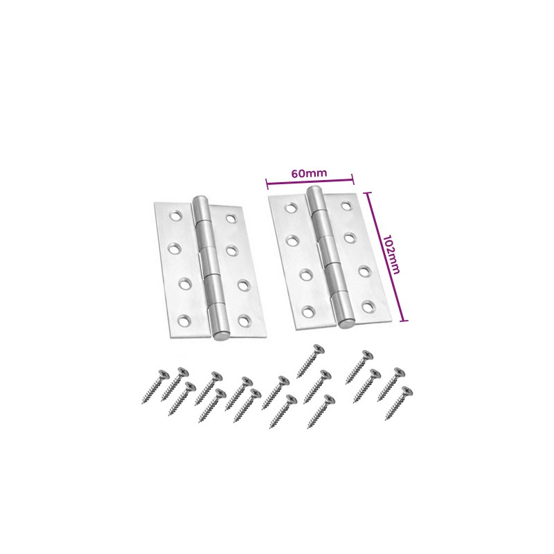 Set of 2 metal hinges, silver color (102x60mm)