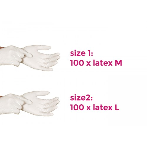 Protective latex working gloves, size 1: medium, 100 pcs