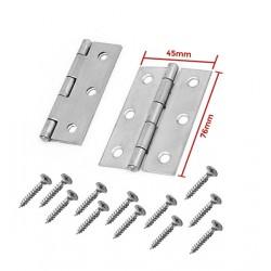 Set van 2 metalen scharnieren (76x45mm) met schroeven