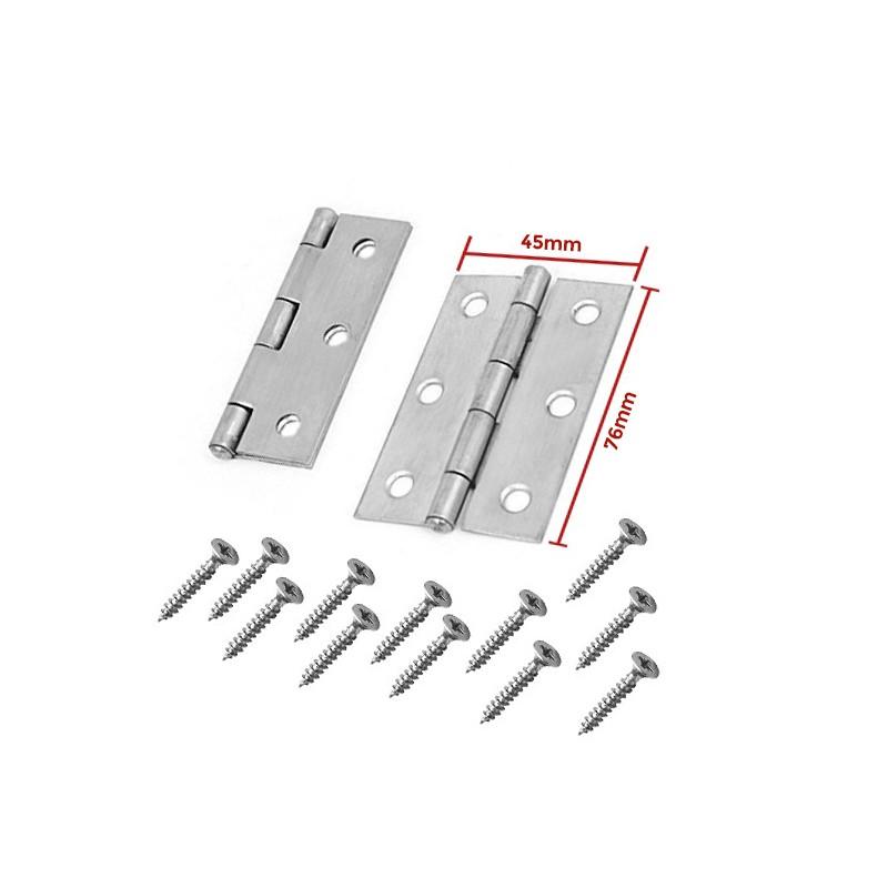 Set of 2 metal hinges, silver color (76x45mm)