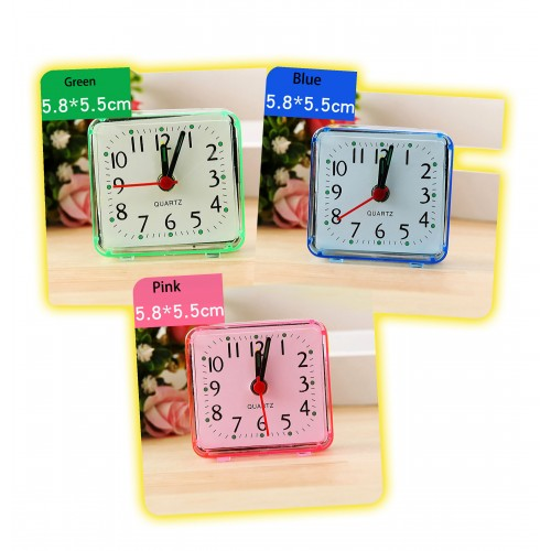 Travel alarm clock, red/pink (battery powered)