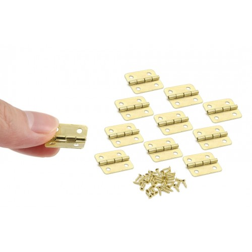 Set of 10 pieces small brass hinges (18x16mm)