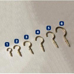 Set of 20 brass screw hooks, size 2