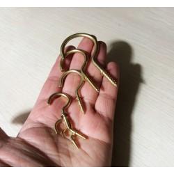 Set of 20 brass screw hooks, size 4