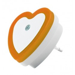 Nightlight with light sensor (220v, heart, orange)