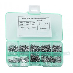 250 pieces bolts, nuts and washers, size: M2