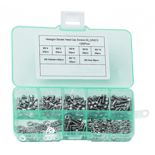 250 pieces bolts, nuts and washers, size: M2.5