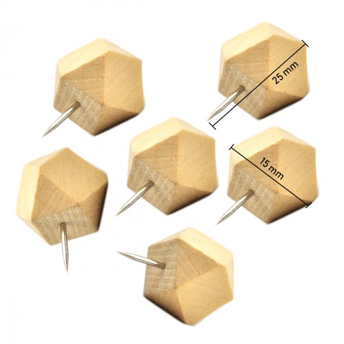 Wooden polygon push pins in box (14 pcs)