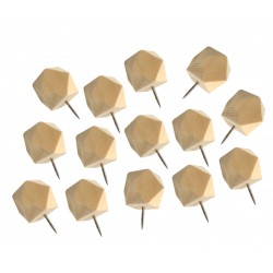 Wooden polygon push pins in box (14 pcs)