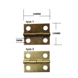 Mini metal hinge, brass (18mm x 15mm)