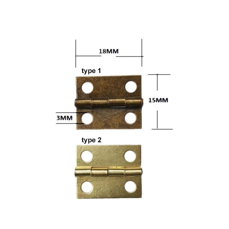 Mini metal hinge, brass (18mm x 15mm)