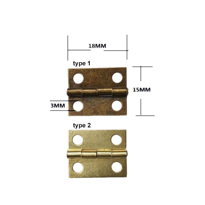 Mini metalen scharnier (18mm x 15mm, messing)