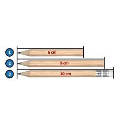 Mini pencil with eraser, 10cm (type 3), black