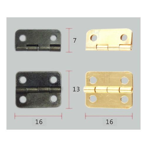 Set mit 10 kleinen Bronzescharnieren, 16x13mm