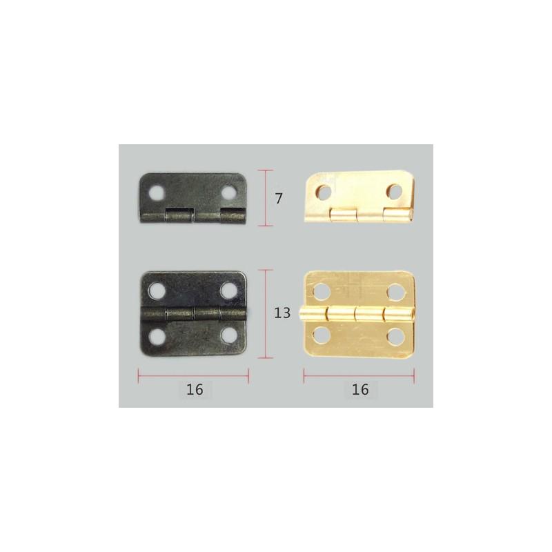Set van 10 kleine bronzen scharniertjes, 16x13mm