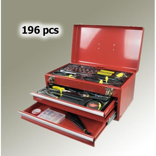 Metal toolbox, filled (196 parts)