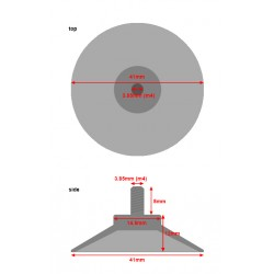 Set transparante zuignappen met m4 schroefdraad (41mm, 10 stuks)
