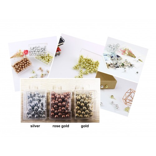 Set of push pins: silver, gold and rose gold, 150 pieces in 3 boxes