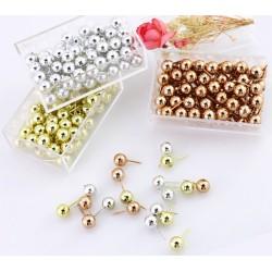 Set punaises bolkop: zilver, goud en rosegoud, 150 stuks in 3 doosjes