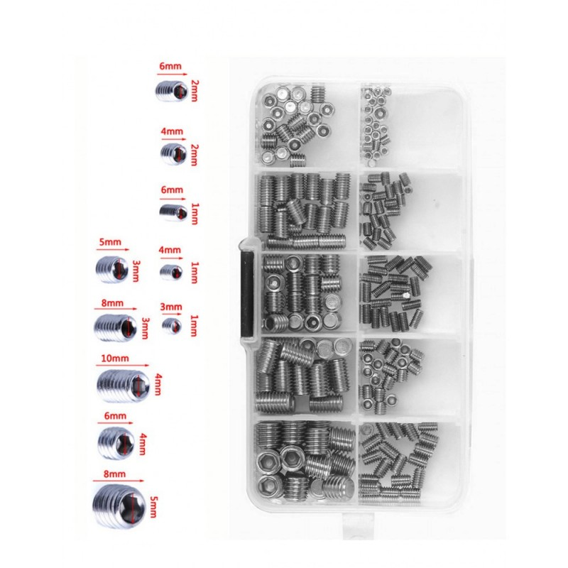 Set of set screws in a box (M3-M8)