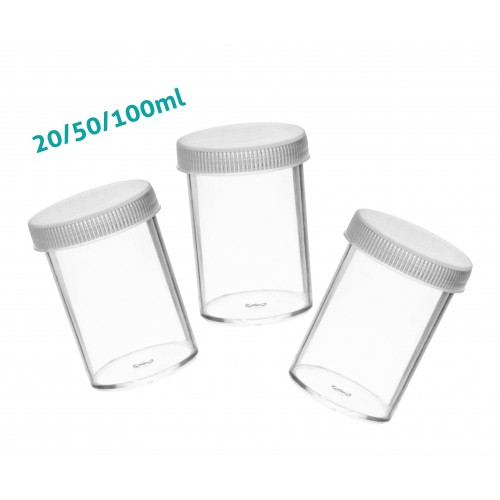 Set of 30 sample containers, 100ml with screw caps