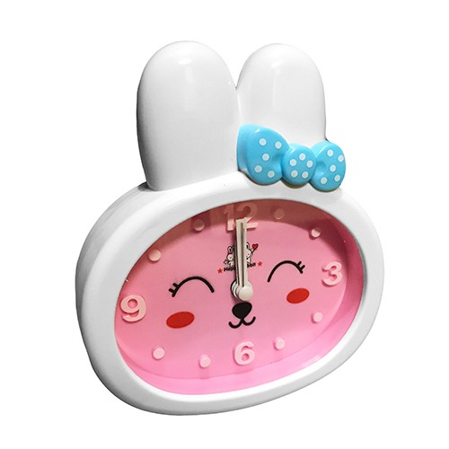 Funny rabbit kids clock with alarm, pink/white, type 2