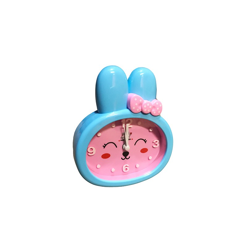 Funny rabbit kids clock with alarm, pink/blue, type 1
