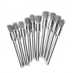 Set mini steel wire brushes (3mm schaft, 10 pieces)