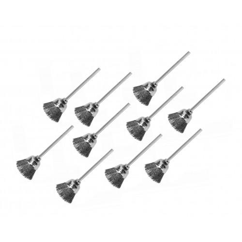 Set mini steel wire brushes (2.3mm schaft, 10 pieces)