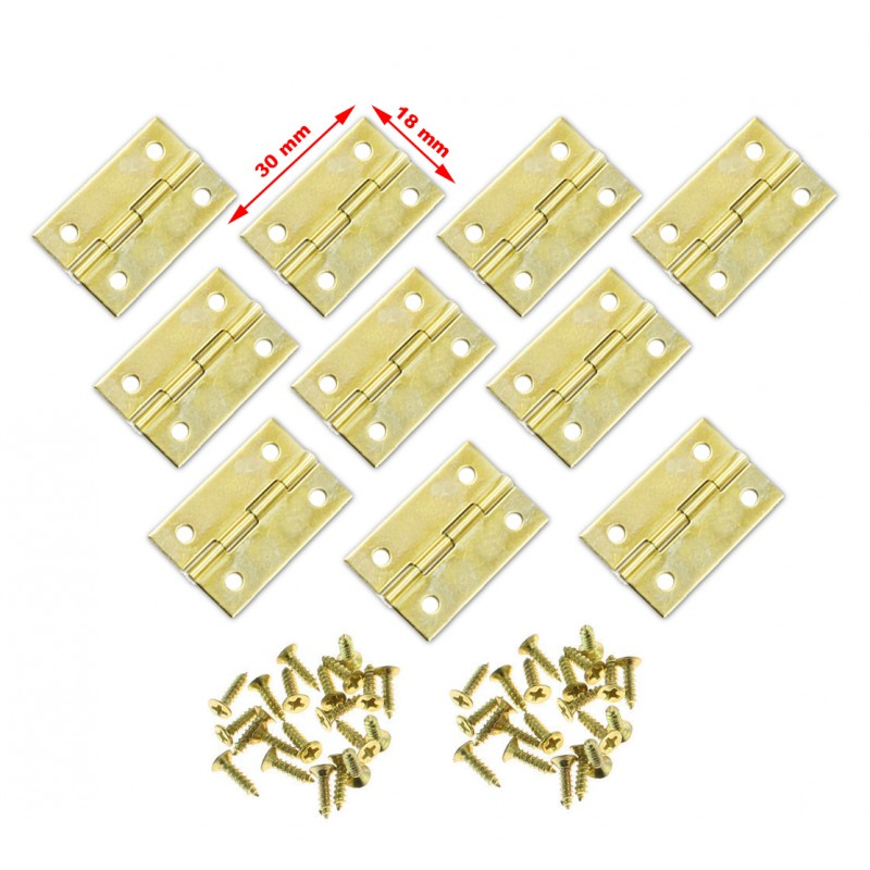 Set of 20 pieces small brass hinges (30x18mm)