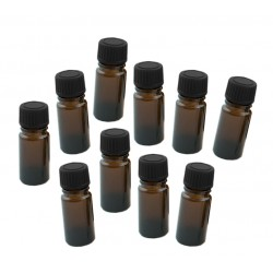 10 x glass bottle 20ml with black cap, 3x8cm