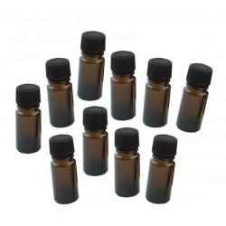 10 x glazen flesje 20ml met zwarte dop, 3x8 cm