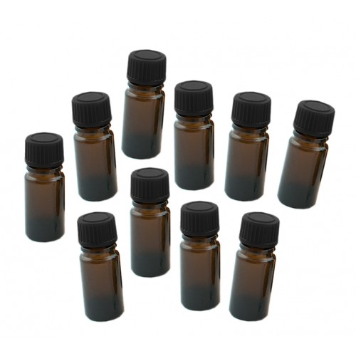 10 x glass bottle 20 ml with black cap, 3x8 cm