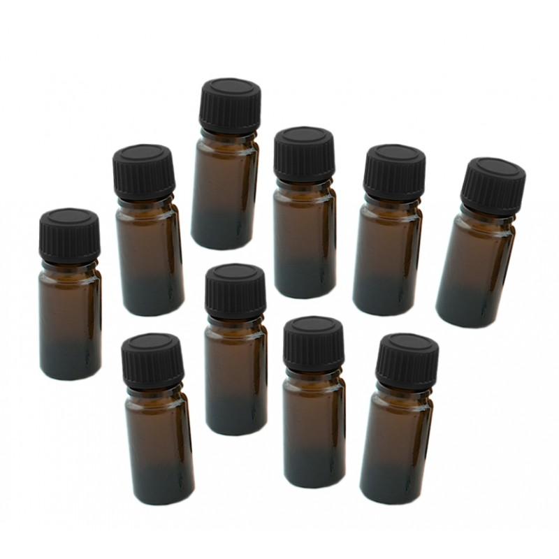 10 x glazen flesje 20 ml met zwarte dop, 3x8 cm