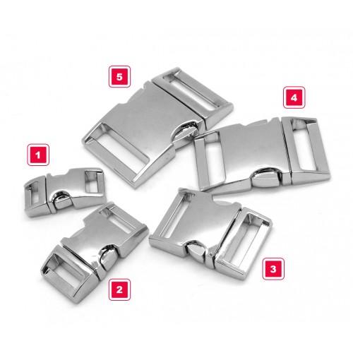 Sturdy metal buckle, silver, no. 5
