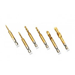 Set of 6 HSS tap, countersink drill bits M3-M10