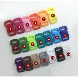 10 mini plastic gespen, sluitingen, 10mm, nr 1: red